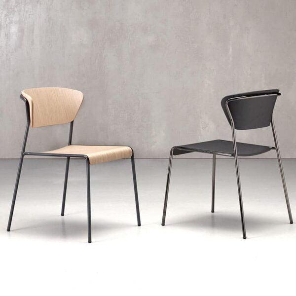 Mobilier restaurant bar chaises modernes empilables design LISA WOOD
