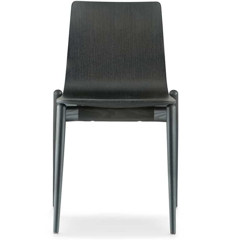 Chaise restaurant bois noir haut de gamme design MALMO 390 PEDRALI