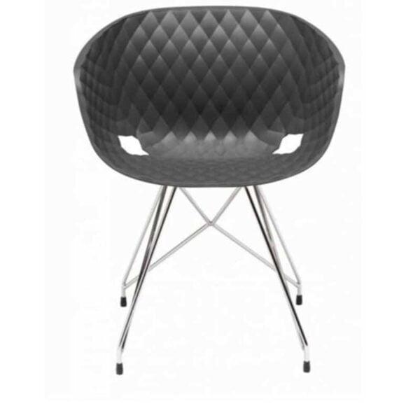 chaise salle d attente moderne coque plastique grise pieds inox Uni ka metalmobil