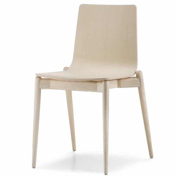 Mobilier haut de gamme hôtellerie restauration chaise design bois naturel MALMO 390 PEDRALI