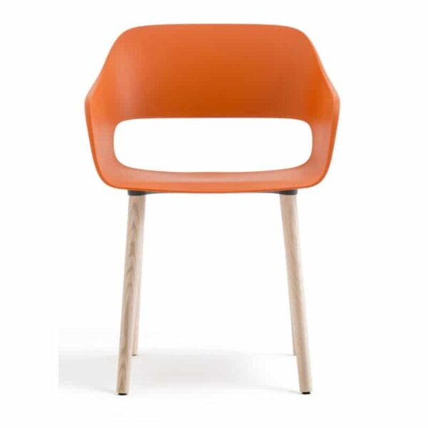 Fauteuil-design-hotellerie-orange-bois-naturel-BABILA-2755-PEDRALI