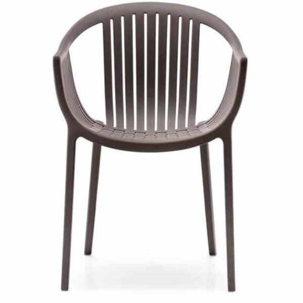 Mobilier terrasse bar restaurant fauteuil empilable plastique marron design TATAMI PEDRALI