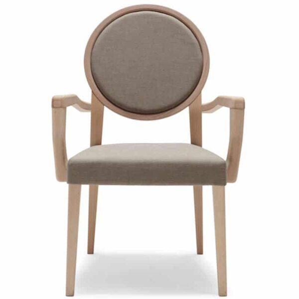 mobilier hôtellerie restauration fauteuil avec accoudoirs bois naturel tissu medaillon 193