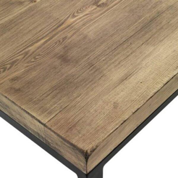 Mobilier-industriel-table-plateau-bois-brut-pietement-acier-AM412