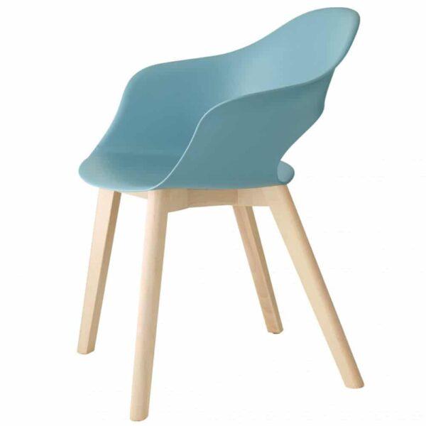 chaise-coque-plastique-bleue-pieds-bois-lady-b-scab-design