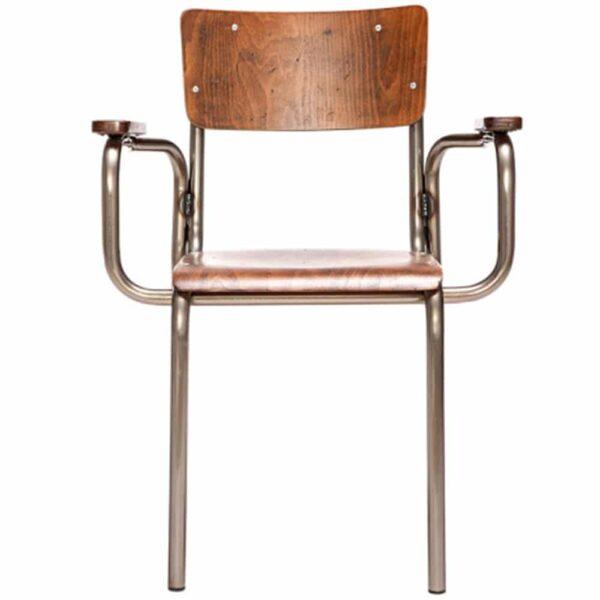 fauteuil-vintage-restaurant-bois-acier-Stock