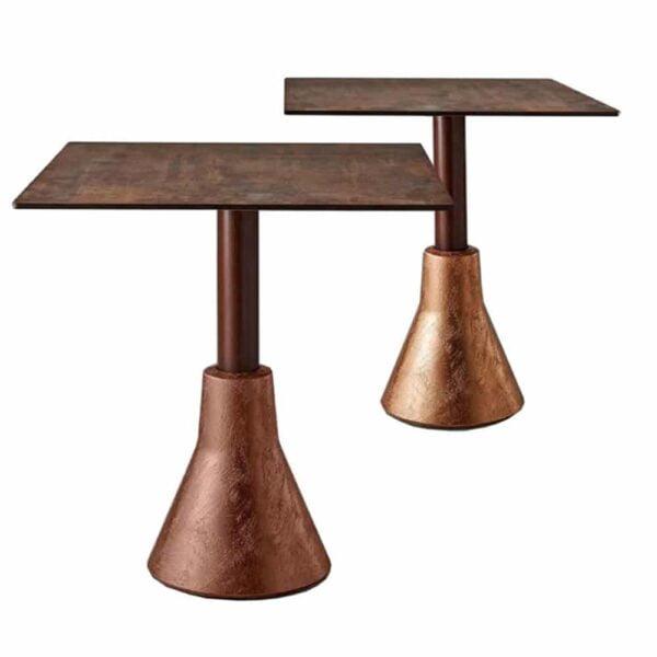 tables-restaurant-design-plateau-cuivre-pied-beton-big-foot