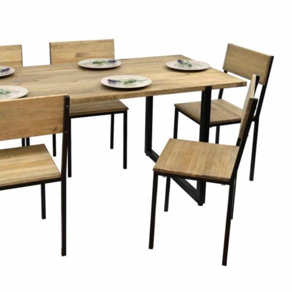 table-industrielle-restaurant-bois-metal-ully