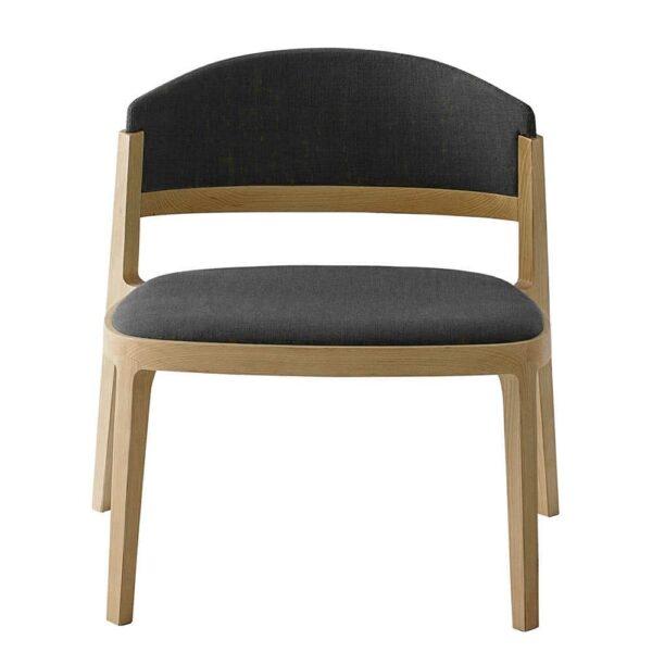fauteuil restaurant pieds bois lounge tissu gris bulla