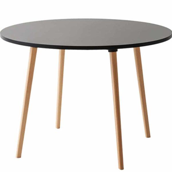table-restaurant-ronde-plateau-noir-pieds-bois-naturel-log